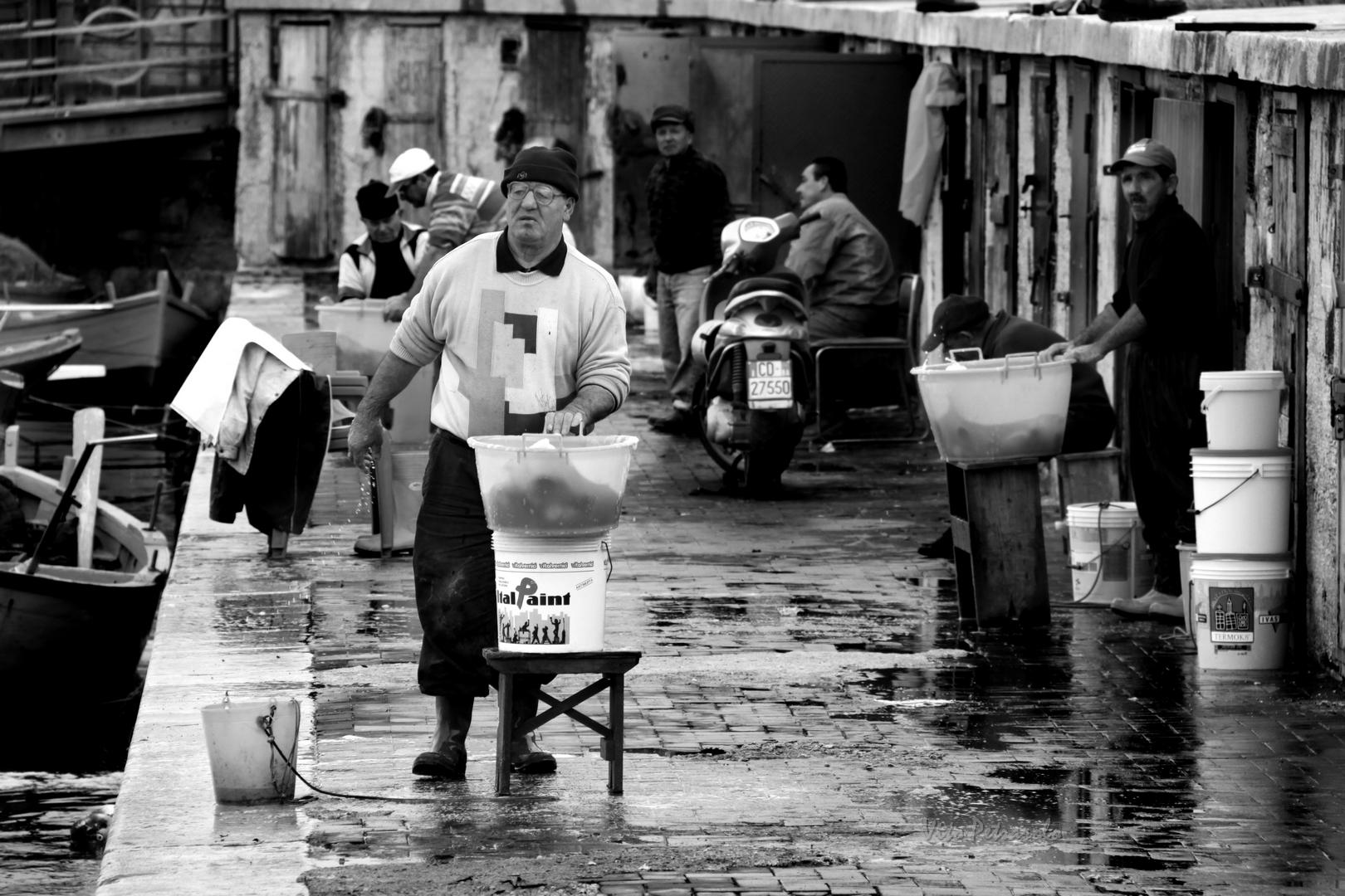 Pescatori sulla banchina